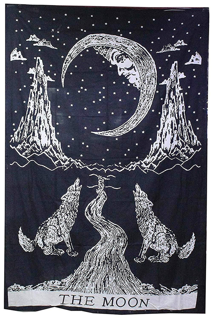 Crying Wolf and Moon Tapestry Wall Hanging, Indian Cotton Black and White Moon Tapestries Hippie Mandala, Boho Bedding Bohemian Bedspread, Yoga Mat Meditation Rugs 54x84 inches