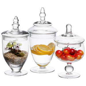 MyGift Clear Glass Apothecary Jars, Wedding Centerpiece, Candy Storage Bottles - 3 Piece - zingydecor