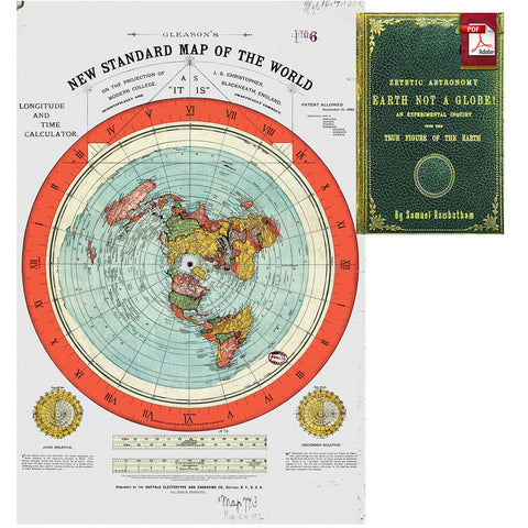 "Image of Flat Earth Map - Gleason's New Standard Map Of The World - Large 24"" x 36"" High Quality Poster - Offer Includes FREE eBook - Zetetic Astronomy by Samuel Rowbotham"