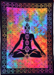 ANJANIYA Seven Chakra Buddha Yoga Meditation Studio Room Decorations Tie Dye Hippie Psychedelic Small Tapestry Poster 40x30 inches 7 chakras tapestries Meditating Peace Wall Art Hanging Decor - zingydecor