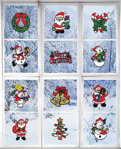 Giraffe Manufacturing Christmas Decorations – Holiday Window Sticker Clings - 12 Pack - Santa Claus, Snowman & Many More - zingydecor