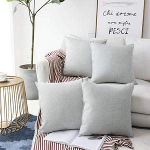 Home Brilliant Burlap Decoration Supersoft Linen Cushion Covers Square Throw Pillows Cover for Couch, 45x45 cm, Set of 4