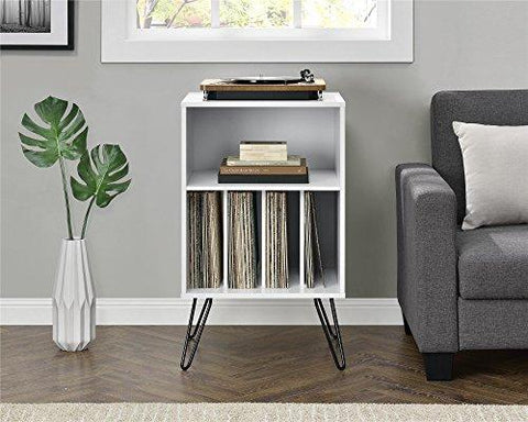 Novogratz Concord Turntable Stand, Brown Oak/White