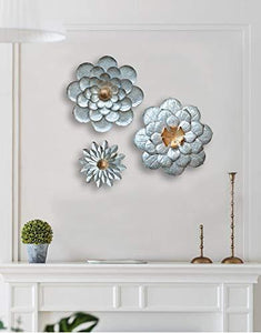 GIFTME 5 Dusty Light Pink Floral Metal Wall Art Decor(11.5x2 inch) - zingydecor