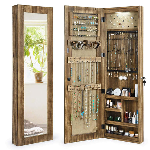 Jewelry Armoire With Full Length Mirror | Solid Wood | Door & Wall Mount
