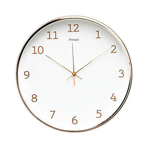 "Luxury Modern 12"" Silent Non-Ticking Wall Clock with Rose Gold Frame (Feminine White) - zingydecor"