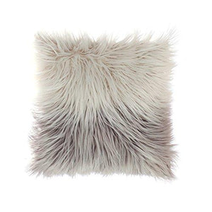 OJIA Deluxe Home Decorative Super Soft Plush Mongolian Faux Fur Throw Pillow Cover Cushion Case 18 x 18 Inch, Pink - zingydecor
