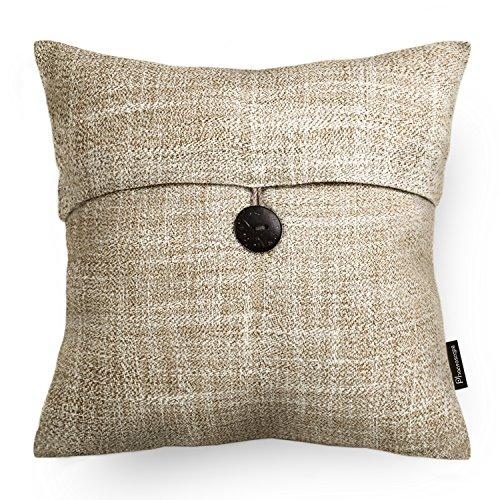 Set of 2 Phantoscope Button Beige Linen Decorative Throw Pillow Case Cushion Cover 18
