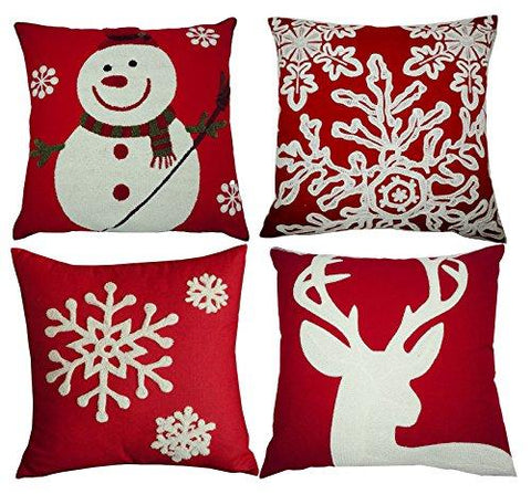 Image of Vibrant Red Christmas Throw Pillow Covers Set of 4, Accent Pillow Cases 18x18 Inch for Home Couch Car Decorative ( Set of 4)