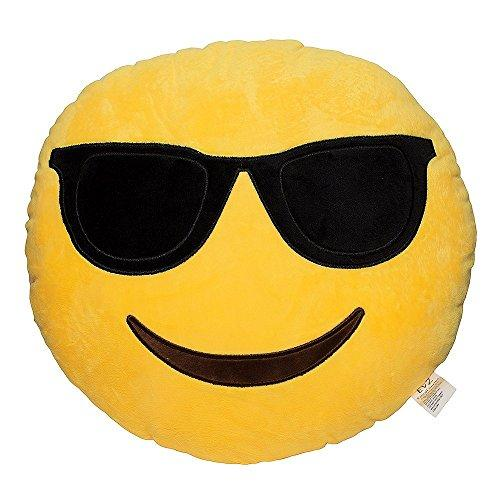 EvZ 32cm Emoji Smiley Emoticon Yellow Round Cushion Stuffed Plush Soft Pillow - zingydecor