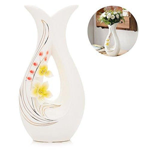 Tall White Ceramic Flower Vases,11.6'' High Decorative Vases with Handmade Porcelain Yellow Flowers for Living Room, Kitchen, Table, Home, Office, Centerpiece, Wedding, Party or as a Gift - zingydecor