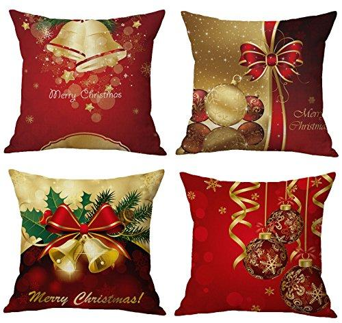 Vibrant Red Christmas Throw Pillow Covers Set of 4, Accent Pillow Cases 18x18 Inch for Home Couch Car Decorative ( Set of 4)