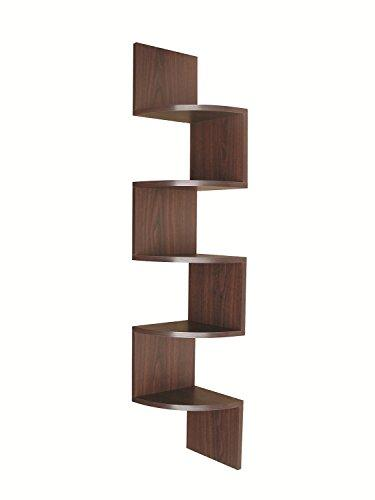 EWEI'S HomeWares 5-Tier Large Corner Wall Mount Shelf, Walnut