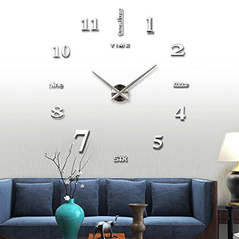Image of Vangold Large DIY Frameless Wall Clock Modern Mute 3D Wall Clock Mirror Stickers Home Office Decorations Gift ( 2-Year Warranty)