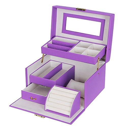 SONGMICS Girls Jewelry Box Lockable Jewelry Organizer Mirrored Storage Case Purple