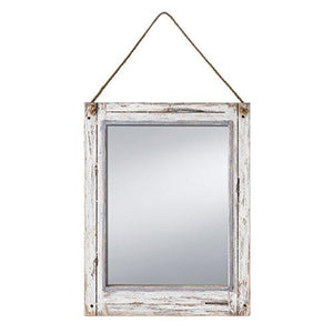 Prinz Rustic River Mirror with Wood Border in Distressed White Finish - zingydecor