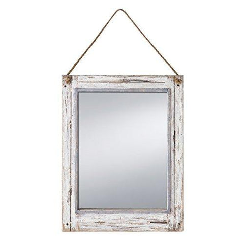 Image of Prinz Rustic River Mirror with Wood Border in Distressed White Finish - zingydecor