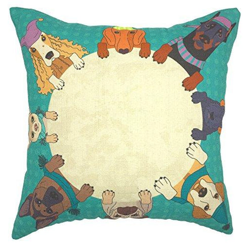 YOUR SMILE Cat Cotton Linen Square Decorative Throw Pillow Case Cushion Cover 18x18 Inch