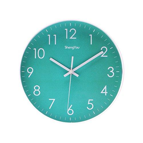 SonYo Indoor Non-Ticking Silent Quartz Modern Simple Wall Clock Digital Quiet Sweep Movement Office Decor 10 Inch(Bluegreen) - zingydecor