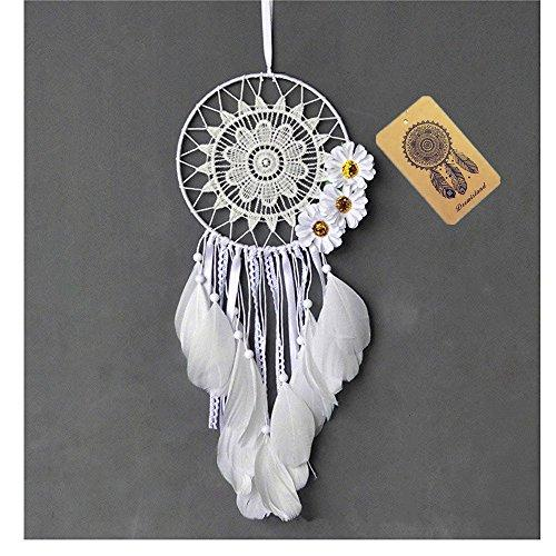 Dremisland Dream catcher handmade traditional white feather dream catcher wall hanging car hanging decoration ornament gift (WHITE FLOWER)