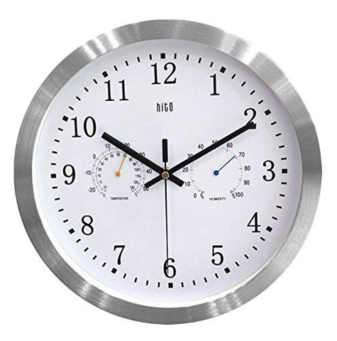 Image of HITO 12 Inches Silent Non-ticking Wall Clock w/ Aluminum Frame, Acrylic Front Cover, Date, Indoor Temperature, Week (Silver w/ LCD)
