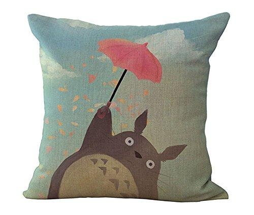 HomeTaste Cute Totoro Decorative Linen Throw Pillow Cover 18x18 - zingydecor