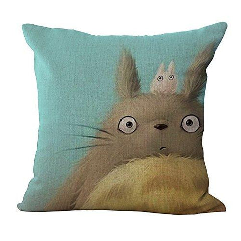 Image of HomeTaste Cute Totoro Decorative Linen Throw Pillow Cover 18x18