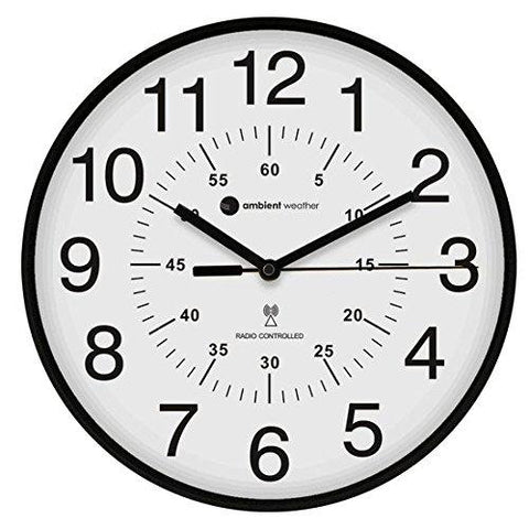 "Image of Ambient Weather RC-1200WB-IL 12"" Luminous Glow in the Dark Atomic Radio Controlled Wall Clock, White / Black - zingydecor"