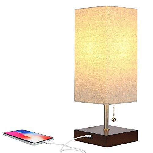 Brightech Grace LED USB Bedside Table & Desk Lamp – Modern Lamp with Soft, Ambient Light, Unique Lampshade & Functional USB Port – Perfect for Table in Bedroom, Living Room, or Office – Havana Brown - zingydecor