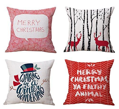 Vibrant Red Christmas Throw Pillow Covers Set of 4, Accent Pillow Cases 18x18 Inch for Home Couch Car Decorative ( Set of 4) - zingydecor