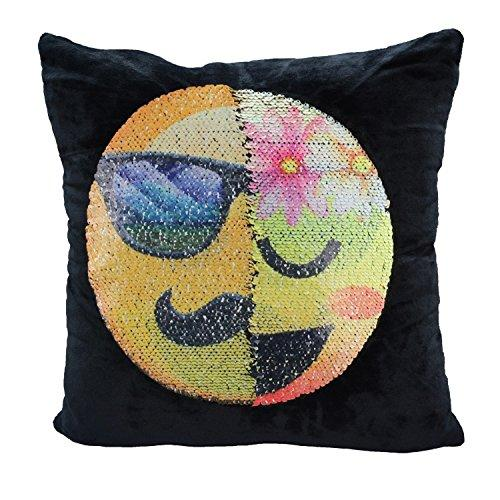 Mermaid Sequin Pillow Case, SNUG STAR Reversible Emoji Cushion Cover Changeable Face Pillowcases DIY Decorative Pillowcase for Sofa Home Decor 16 X 16""