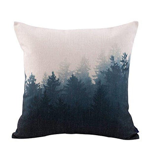 JES&MEDIS Forest Scenery Style Cotton Linen Throw Pillow Case For Home Sofa