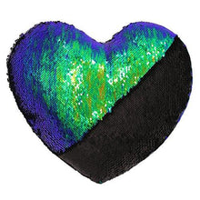 Load image into Gallery viewer, Mermaid Throw Pillows,Two-color Reversible Sequins Mermaid Heart-Shaped Pillow Cover with Insert 13''×15'' - zingydecor