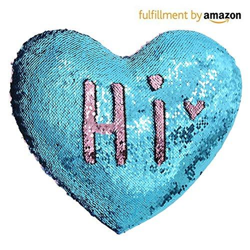 Mermaid Throw Pillows,Two-color Reversible Sequins Mermaid Heart-Shaped Pillow Cover with Insert 13''×15'' - zingydecor