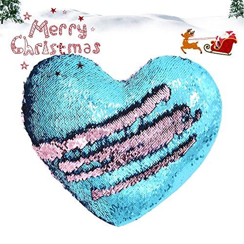 Mermaid Pillow with Pillow Insert By U-miss, Two-color Decorative Heart Shape Reversible Sequin Pillow 13''×15'' (Heart-Shaped, Pink-Blue) - zingydecor
