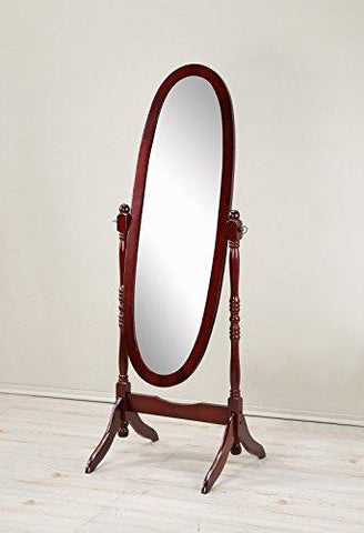 Roundhill Furniture Traditional Queen Anna Style Wood Floor Cheval Mirror, Cherry Finish