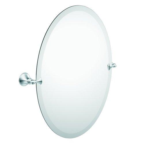 Moen DN2692BN Glenshire Bathroom Oval Tilting Mirror, Brushed Nickel - zingydecor