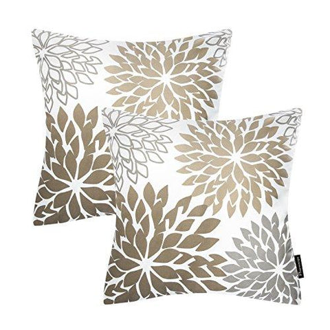 Image of Phantoscope New Living Red&Brown Series Throw Pillow Case Cushion Cover Dahlia Set of 2 - zingydecor