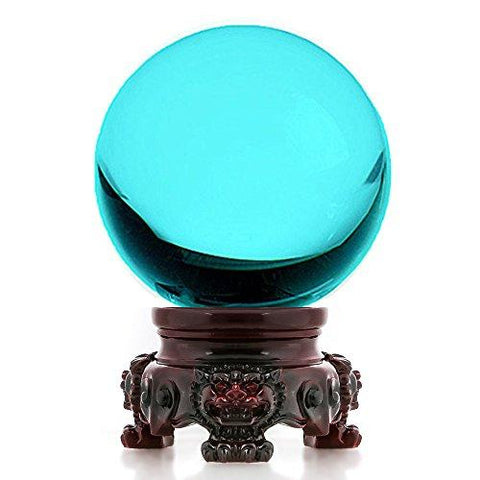 Image of Amlong Crystal 3 inch (80mm) Clear Crystal Ball with Redwood Lion Resin Stand - zingydecor