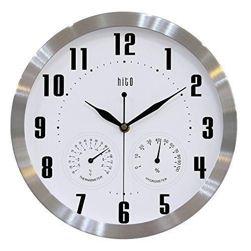 HITO 12 Inches Silent Non-ticking Wall Clock w/ Aluminum Frame, Acrylic Front Cover, Date, Indoor Temperature, Week (Silver w/ LCD)