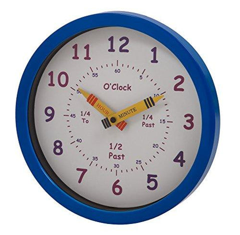 Image of Unity Henley Children's Learn the Time Wall Clock, 10-Inch, Blue