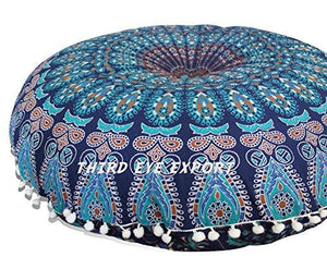 "Third Eye Export - 32"" Mandala Barmeri Large Floor Pillow Cover Cushion Meditation Seating Ottoman Throw Cover Hippie Decorative Zipped Bohemian Pouf (Blue)"