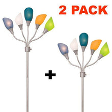 Load image into Gallery viewer, Light Accents Medusa Silver Floor Lamp with Multicolor Acrylic Shades - zingydecor