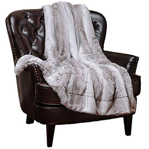 "Image of Chanasya Super Soft Fuzzy Fur Elegant Faux Fur Falling Leaf Pattern With Fluffy Plush Sherpa Cozy Warm Brown Microfiber Throw Blanket (50"" x 65"") - Browna and White"