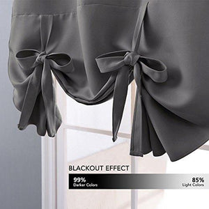 NICETOWN Thermal Insulated Grey Blackout Curtain - Tie Up Shade for Small Window (Rod Pocket Panel, 46
