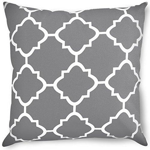 Image of Decorative Square 18 x 18 Inch Throw Pillows Grey Moroccan Quatrefoil Lattice Cushion Pillow