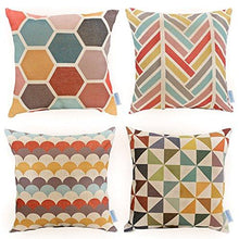 Load image into Gallery viewer, WOMHOPE 4 Pack - 17 x 17 Inch Colorfull Stripe Vintage Style Cotton Linen Square Throw Pillow Case Decorative Cushion Cover Pillowcase Cushion Case for Sofa,Bed,Chair,Auto Seat (C (Set of 4)) - zingydecor