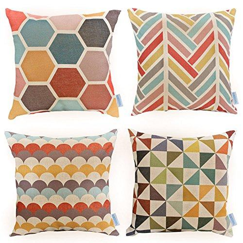 WOMHOPE 4 Pack - 17 x 17 Inch Colorfull Stripe Vintage Style Cotton Linen Square Throw Pillow Case Decorative Cushion Cover Pillowcase Cushion Case for Sofa,Bed,Chair,Auto Seat (C (Set of 4)) - zingydecor
