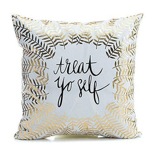 "Kingla Home Square Cushion Cover For Couch Gold Printed ""LOVE"" Throw Pillow Cover 18x18 Inch(45cmx45cm) Decorative Pillow Case For Valentine's Day"