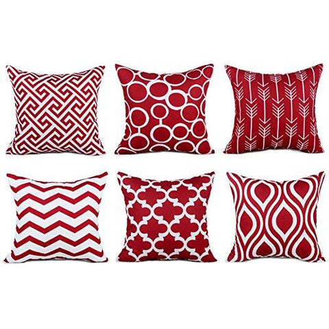 Image of Top Finel Durable Cotton Linen Square Decorative Throw Pillows Cushion Covers Cases Pillowcases For Sofa 18 x18 inch Set of 6 -Series